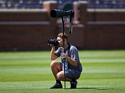 ANN ARBOR, USA - Friday, July 27, 2018: Liverpool photographer Andrew Powell during a training session ahead of the preseason International Champions Cup match between Manchester United FC and Liverpool FC at the Michigan Stadium. (Pic by David Rawcliffe/Propaganda)