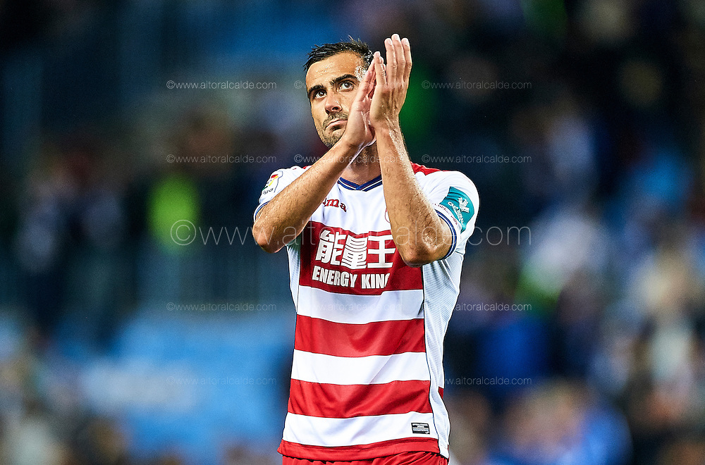MALAGA, SPAIN - DECEMBER 09:  Matthieu Saunier of Granada CF waves to fans during La Liga match between Malaga CF and Granada CF at La Rosaleda Stadium December 9, 2016 in Malaga, Spain.  (Photo by Aitor Alcalde Colomer/Getty Images)