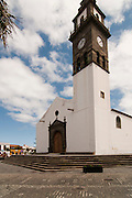 View of Buenavista, Tenerife, Spain, with church and plaza