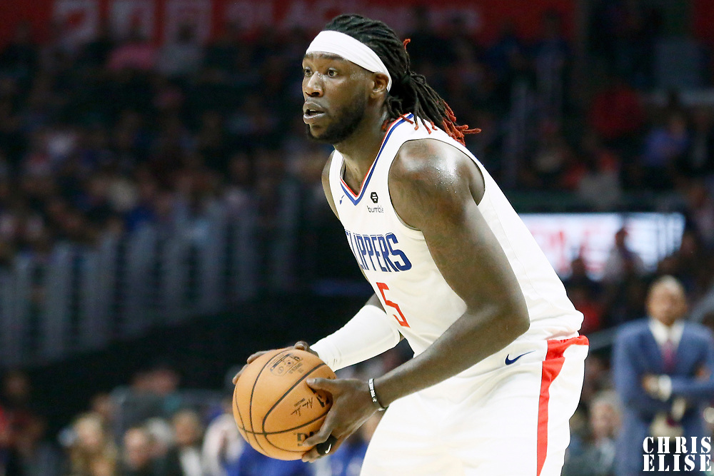 LOS ANGELES, CA - OCT 28: Montrezl Harrell (5) of the LA Clippers looks to pass the ball during a game on October 28, 2019 at the Staples Center, in Los Angeles, California.