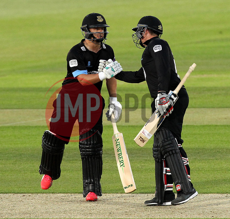 Sussex's Craig Cachopa and Sussex's Matt Machan - Photo mandatory by-line: Robbie Stephenson/JMP - Mobile: 07966 386802 - 19/06/2015 - SPORT - Cricket - Southampton - The Ageas Bowl - Hampshire v Sussex - Natwest T20 Blast