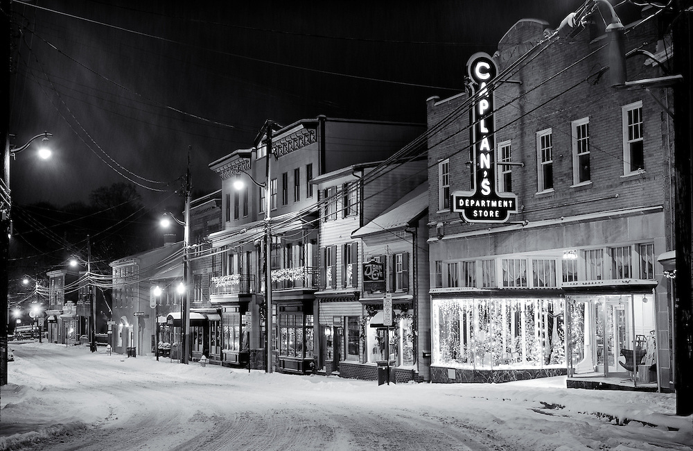 Night snow on Main Street in Historic Ellicott City, Maryland.