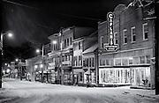 Night snow on Main Street in Historic Ellicott City, Maryland.