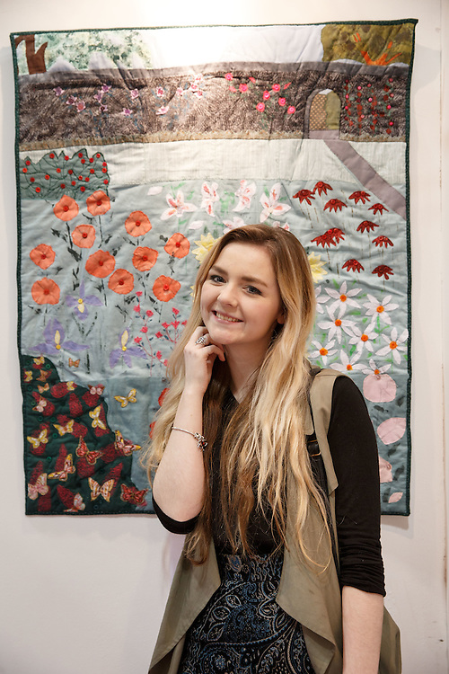 FREE PICTURES : Stitching, Sewing & Quilting and Hobbycrafts event at the SECC, Glasgow. Lost in a Quilters' Garden<br /> The Quilters' Guild of the British Isles touring exhibition captures the thrill of growing. Chelsea MacGillivray of Inverness enjoys the work on display. <br />  <br /> Picture Robert Perry 3rd March 2016<br /> <br /> Please credit photo to Robert Perry<br /> <br /> Image is free to use in connection with the promotion of the above company or organisation. 'Permissions for ALL other uses need to be sought and payment make be required.<br /> <br /> <br /> Note to Editors:  This image is free to be used editorially in the promotion of the above company or organisation.  Without prejudice ALL other licences without prior consent will be deemed a breach of copyright under the 1988. Copyright Design and Patents Act  and will be subject to payment or legal action, where appropriate.<br /> www.robertperry.co.uk<br /> NB -This image is not to be distributed without the prior consent of the copyright holder.<br /> in using this image you agree to abide by terms and conditions as stated in this caption.<br /> All monies payable to Robert Perry<br /> <br /> (PLEASE DO NOT REMOVE THIS CAPTION)<br /> This image is intended for Editorial use (e.g. news). Any commercial or promotional use requires additional clearance. <br /> Copyright 2016 All rights protected.<br /> first use only<br /> contact details<br /> Robert Perry     <br /> 07702 631 477<br /> robertperryphotos@gmail.com<br />        <br /> Robert Perry reserves the right to pursue unauthorised use of this image . If you violate my intellectual property you may be liable for  damages, loss of income, and profits you derive from the use of this image.