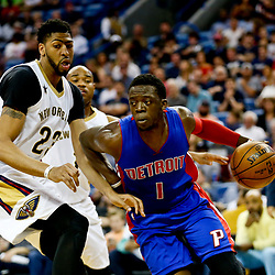 Mar 1, 2017; New Orleans, LA, USA; Detroit Pistons guard Reggie Jackson (1) drives past New Orleans Pelicans forward Anthony Davis (23) during the second quarter of a game at the Smoothie King Center. Mandatory Credit: Derick E. Hingle-USA TODAY Sports