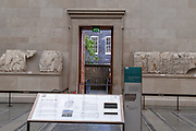 Now re-opened after months of closure during the Coronavirus pandemic, a door is open to allow fresh air into the room containing the Elgin Marbles and other historical artifacts in the British Museum, on 2nd September 2020, in London, England.