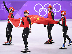 PYEONGCHANG, Feb. 22, 2018  Han Tianyu, Wu Dajing, Chen Dequan and Xu Hongzhi (L to R) of team China celebrate after finishing men's 5000m relay final of short track speed skating at the 2018 PyeongChang Winter Olympic Games at Gangneung Ice Arena, Gangneung, South Korea, Feb. 22, 2018. Team China claimed silver medal in a time of 6:32.035. (Credit Image: © Ju Huanzong/Xinhua via ZUMA Wire)