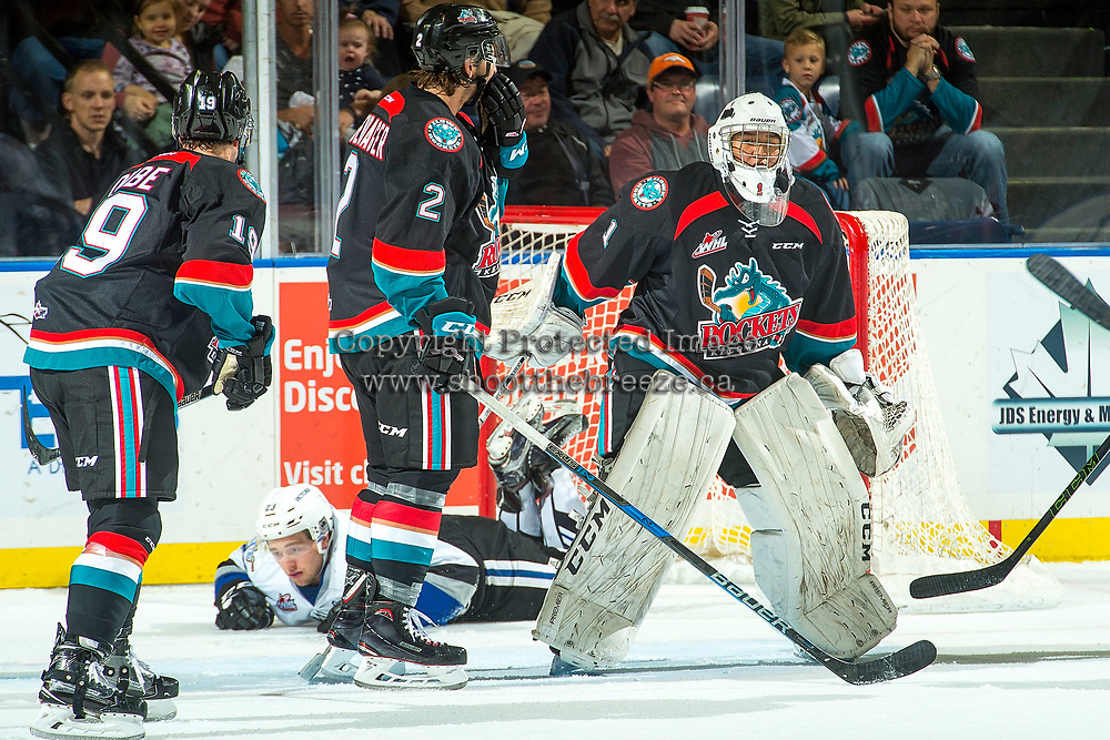 KELOWNA, CANADA - OCTOBER 4: James Porter #1 of the Kelowna Rockets skates away from the net after a collision with Jared Legien #23 of the Victoria Royals on October 4, 2017 at Prospera Place in Kelowna, British Columbia, Canada.  (Photo by Marissa Baecker/Shoot the Breeze)  *** Local Caption ***