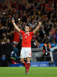 Gareth Bale of Wales reacts to Wales win on the final whistle  - Mandatory by-line: Joe Meredith/JMP - 01/07/2016 - FOOTBALL - Stade Pierre Mauroy - Lille, France - Wales v Belgium - UEFA European Championship quarter final