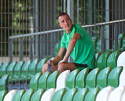 01.07.2015, Weserstadion, Bremen, GER, 1. FBL, SV Werder Bremen, Trainingsauftakt, im Bild Santiago Garcia (SV Werder Bremen #2) bei einer Pause w&auml;hrend des Laktattests // during a Trainingssession of German Bundesliga Club SV Werder Bremen at the Weserstadion in Bremen, Germany on 2015/07/01. EXPA Pictures &copy; 2015, PhotoCredit: EXPA/ Andreas Gumz<br /> <br /> *****ATTENTION - OUT of GER*****