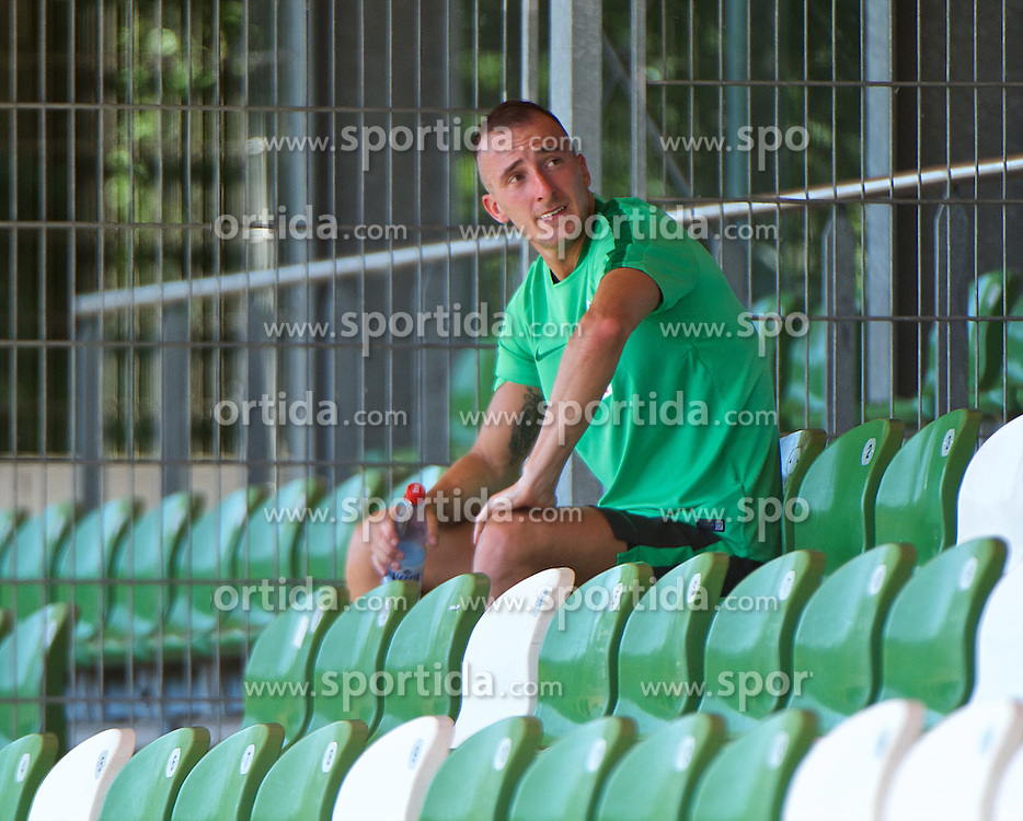 01.07.2015, Weserstadion, Bremen, GER, 1. FBL, SV Werder Bremen, Trainingsauftakt, im Bild Santiago Garcia (SV Werder Bremen #2) bei einer Pause während des Laktattests // during a Trainingssession of German Bundesliga Club SV Werder Bremen at the Weserstadion in Bremen, Germany on 2015/07/01. EXPA Pictures © 2015, PhotoCredit: EXPA/ Andreas Gumz<br /> <br /> *****ATTENTION - OUT of GER*****