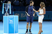 Roger Federer speaks after the final of the ATP World Tour Finals between Roger Federer of Switzerland and Novak Djokovic at the O2 Arena, London, United Kingdom on 22 November 2015. Photo by Phil Duncan.