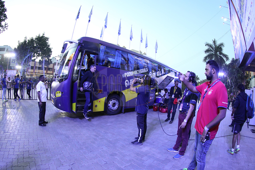Chennaiyin FC bus during match 46 of the Hero Indian Super League between Chennaiyin FC and FC Pune City held at the Jawaharlal Nehru Stadium, Chennai India on the 13th January 2018<br /> <br /> Photo by: Arjun Singh  / ISL / SPORTZPICS