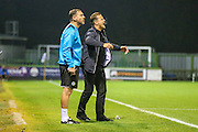 Forest Green Rovers manager, Mark Cooper and Forest Green Rovers assistant manager, Scott Lindsey during the Vanarama National League match between Forest Green Rovers and Eastleigh at the New Lawn, Forest Green, United Kingdom on 13 September 2016. Photo by Shane Healey.