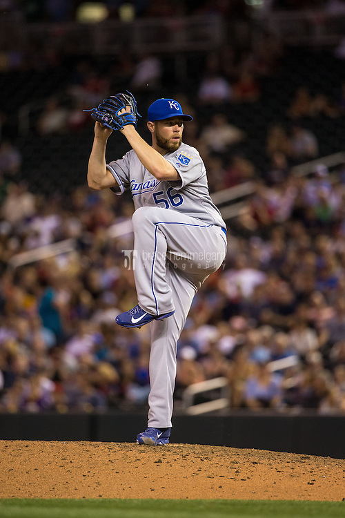 MINNEAPOLIS, MN- JUNE 09: Greg Holland #56 of the Kansas City Royals pitches against the Minnesota Twins on June 9, 2015 at Target Field in Minneapolis, Minnesota. The Royals defeated the Twins 2-0. (Photo by Brace Hemmelgarn) *** Local Caption *** Greg Holland