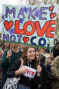 Inspired by Swedish teenager Greta Thunberg and organised by Youth Strike 4 Climate, British eco-aware school and college-age pupils protest about Climate Change inaction in Parliament Square during their walkout from classes, on 15th March 2019, in Westminster, London England.