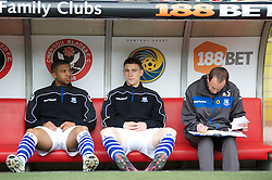 SHEFFIELD, ENGLAND - Saturday, March 17, 2012: Tranmere Rovers' substitutes Joss Labadie, Jake Cassidy and assistant manager Kevin Summerfield during the Football League One match against Sheffield United at Bramall Lane. (Pic by David Rawcliffe/Propaganda)