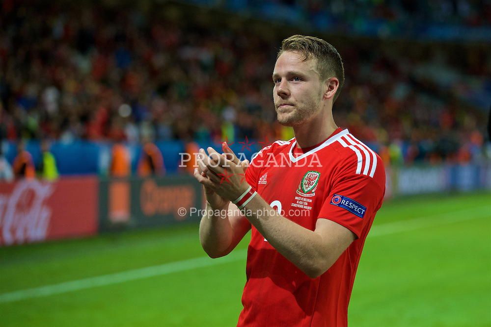 LILLE, FRANCE - Friday, July 1, 2016: Wales' Chris Gunter after the 3-1 victory over Belgium during the UEFA Euro 2016 Championship Quarter-Final match at the Stade Pierre Mauroy. (Pic by David Rawcliffe/Propaganda)