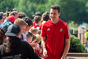 Jon McLaughlin (#1) of Sunderland AFC is all smiles as he arrives for the EFL Sky Bet League 1 match between Sunderland and AFC Wimbledon at the Stadium Of Light, Sunderland, England on 24 August 2019.