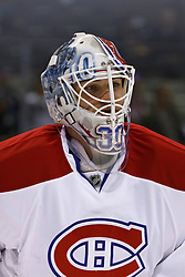 Dec 1, 2011; San Jose, CA, USA; Montreal Canadiens goalie Peter Budaj (30) warms up before the game against the San Jose Sharks at HP Pavilion.  San Jose defeated Montreal 4-3 in shootouts. Mandatory Credit: Jason O. Watson-US PRESSWIRE