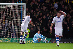 NORWICH, ENGLAND - Saturday, November 14, 2009: Tranmere Rovers' Luke Daniels looks dejected after Norwich City go 1-0 up thanks to a Wesley Hoolahan penalty during the League One match at Carrow Road. (Pic by David Rawcliffe/Propaganda)