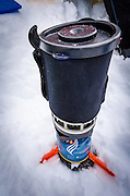 Ultralight backcountry stove, John Muir Wilderness, Sierra Nevada Mountains, California  USA