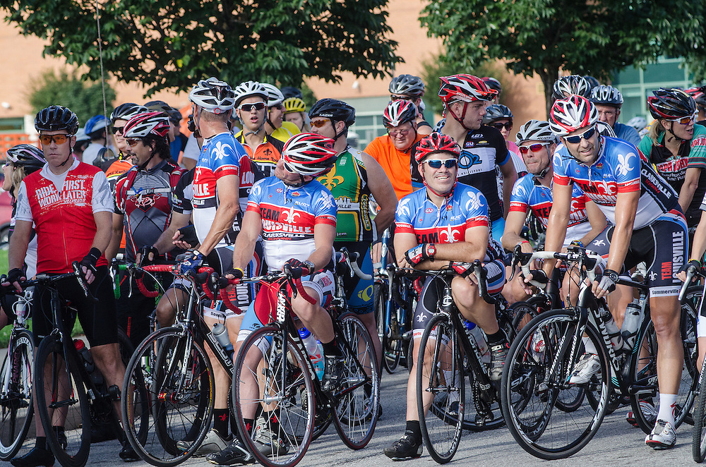 Cyclists wait at the starting line of the Mayor's Hike Bike & Paddle event at Waterfront Park. September 1, 2014
