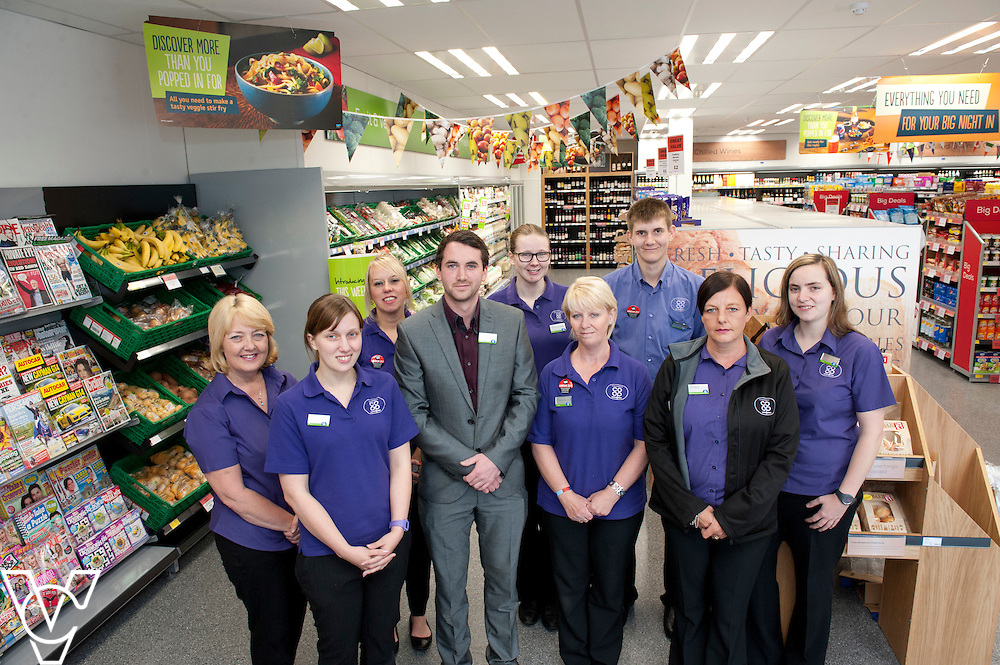Pictured is, from left, Marina Glover, Helen Gamwell, Laura Bristol, store manager Henry Gibbons, Lucy Torn, Sue Wood, Richard Brooks, Sarah Pearson and Georgina Covington.<br /> <br /> Lincolnshire Co-operative food store, Long Bennington, Lincolnshire.<br /> <br /> Date: September 28, 2015