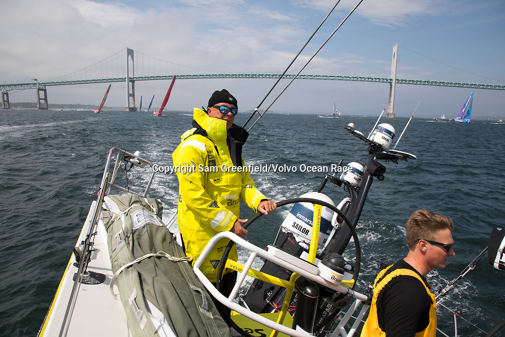 Leg 9, from Newport to Cardiff, day 1 on board Brunel. Peter Burling and Bouwe Bekking take the lead at the start. 20 May, 2018.
