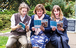 Pictured: Daniel Allison, Fiona Hyslop and Shona Cowie swap stories<br /> <br /> Fiona Hyslop MSP. Cabinet Secretary for Culture, Tourism &amp; External Affairs today previewed the 2018 festival, which looks at the future of storytelling in Scotland, nurturing local roots, reaching out globally and celebrating Celtic traditions shared by Scotland and Ireland. During her preview Ms Hyslop met festival director Donald Smith, David Mitchell of Scotland's Garden Scheme, and storytellers Miriam Morris and Daniel Allison.