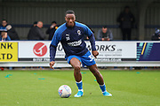 AFC Wimbledon defender Paul Kalambayi (30) warming upduring the EFL Sky Bet League 1 match between AFC Wimbledon and Lincoln City at the Cherry Red Records Stadium, Kingston, England on 2 November 2019.