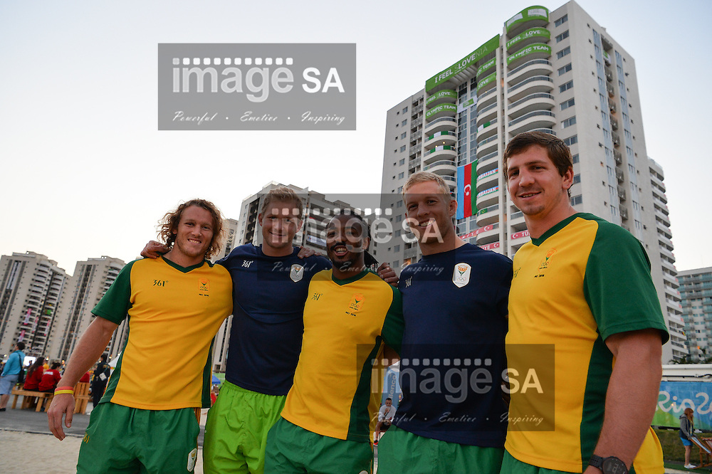 RIO DE JANEIRO, BRAZIL - AUGUST 04: Werner Kok, Philip Snyman, Cecil Afrika, Kyle Brown and Kwagga Smith of Team South Africa's Rugby 7's during a visit to the athletes village where Team South Africa are staying. <br /> (Photo by Roger Sedres/ImageSA)