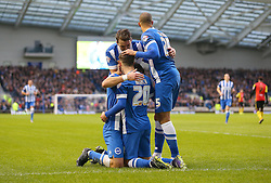 Solly March ( C ) of Brighton and Hove Albion celebrates with team mates after he scores to make it 1-0 - Mandatory byline: Paul Terry/JMP - 28/11/2015 - Football - Falmer Stadium - Brighton, England - Brighton v Birmingham City - Sky Bet Championship