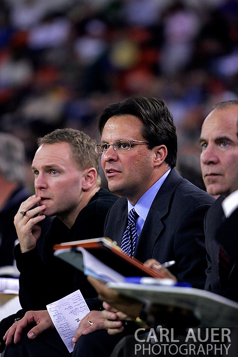 26 November 2005: Marquette head coach Tom Crean (center) in the Marquette Golden Eagle 92-89 overtime victory over the University of South Carolina Gamecocks to win the championship at the Great Alaska Shootout in Anchorage, Alaska..