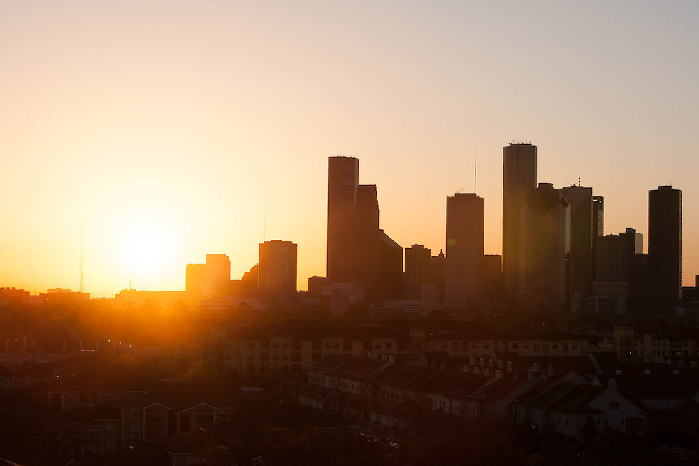 Houston, Texas skyline at sunrise from the west.