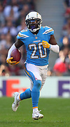 LONDON, ENGLAND - OCTOBER 21: defensive back Desmond King (20) of The Chargers during the NFL game between Tennessee Titans and Los Angeles Chargers at Wembley Stadium on October 21, 2018 in London, United Kingdom. (Photo by Mitchell Gunn/Pro Lens Photo Agency) *** Local Caption *** Desmond King