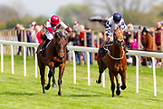 Sky Defender ridden by Franny Norton and trained by Mark Johnston in the F45 Bath Training Guaranteed Results Handicap race. Entertaining ridden by Sean Levey and trained by Richard Hannon in the F45 Bath Training Guaranteed Results Handicap race.  - Ryan Hiscott/JMP - 06/05/2019 - PR - Bath Racecourse- Bath, England - Kids Takeover Day - Monday 6th April 2019