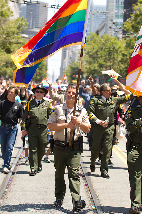 Members of the San Francisco Sheriff's Department march up Market Street at the 43rd annual San Francisco Pride parade, Sunday, June 30, 2013 in San Francisco. (Photo by D. Ross Cameron)