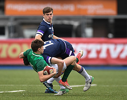 Photographer Mike Jones/Replay Images<br /> <br /> Ireland U18s v Scotland U18s<br /> Six Nations, Sunday 8th April 2018, <br /> Cardiff Arms Park, Cardiff, <br /> <br /> World Copyright © Replay Images . All rights reserved. info@replayimages.co.uk - http://replayimages.co.uk