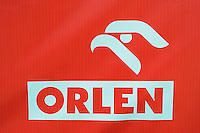 """Polish gas station chain """"Orlen"""", with eagle/falcon as their symbol, Goleniow, Poland, Oder river delta/Odra river rewilding area, Stettiner Haff, on the border between Germany and Poland"""