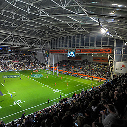 A general view as the teams warm up during the Rugby Championship and Bledisloe Cup rugby match between the New Zealand All Blacks and Australia Wallabies at Forsyth Barr Stadium in Dunedin, New Zealand on Saturday, 26 August 2017. Photo: Dave Lintott / lintottphoto.co.nz