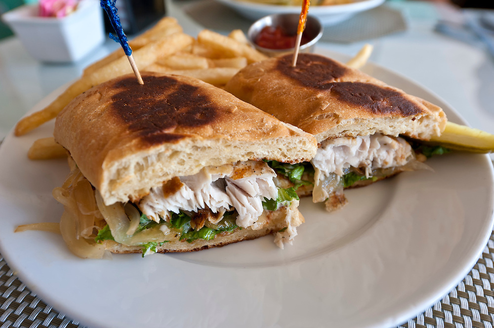 Closeup of grilled sandwich of fish, mahi mahi, also known as dolphin.