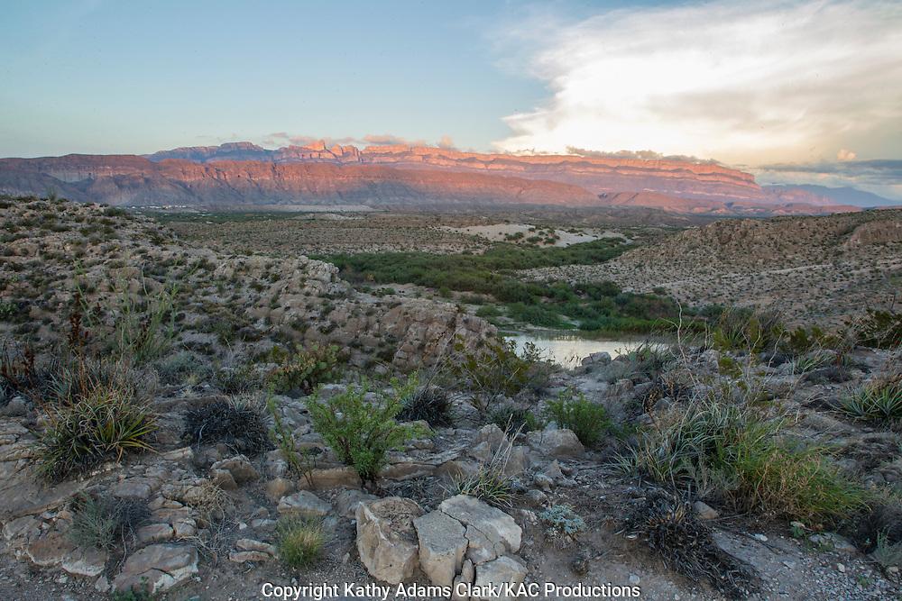Sierra del Carmen and Rio Grande, in Big Bend National Park, Texas. Vantage Point is the Rio Grande Village overlook.