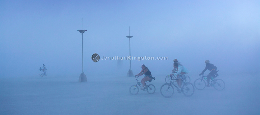 BLACK ROCK CITY, NV:  Evening dust storm in Black Rock City, Nevada.