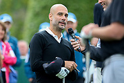 Pep Guardiola interviewed on the 1st hole during the Celebrity Pro-Am day at Wentworth Club, Virginia Water, United Kingdom on 23 May 2018. Picture by Phil Duncan.