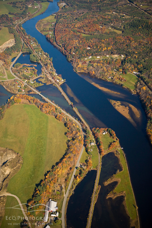The Connecticut River flows between Norwich, Vermont and Hanover, New Hampshire. Aerial.