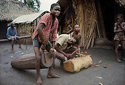 Africa, Democratic Republic of the Congo, Ngiri River area, Libinza tribe. Boys playing drums.