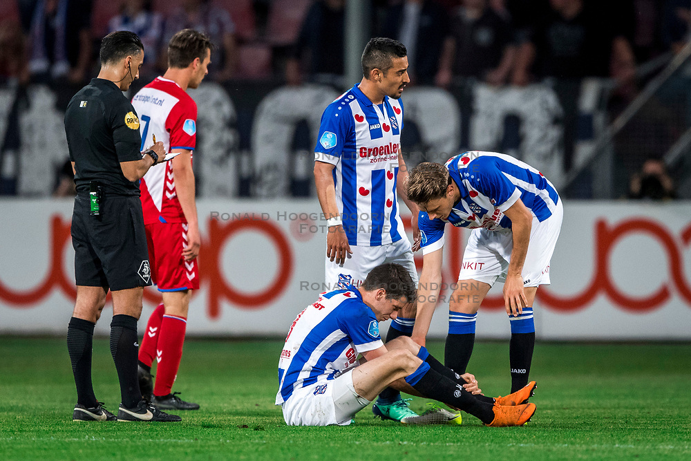 12-05-2018 NED: FC Utrecht - Heerenveen, Utrecht<br /> FC Utrecht win second match play off with 2-1 against Heerenveen and goes to the final play off / (L-R) Pelle van Amersfoort #19 of SC Heerenveen, Reza Ghoochannejhad #9 of SC Heerenveen