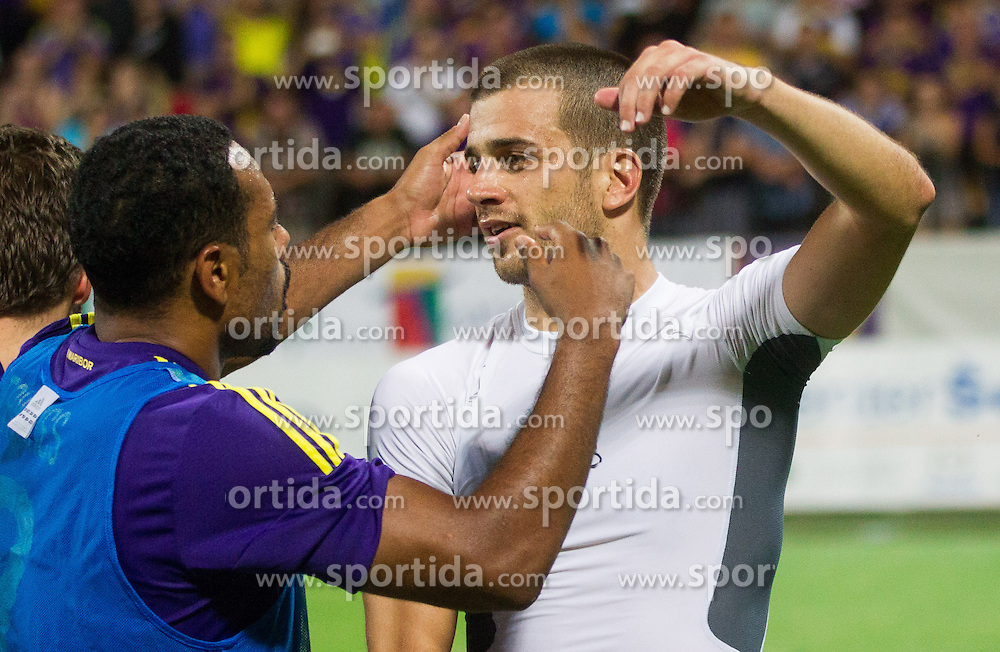 Marcos Tavares #9 of Maribor and Mitja Viler #28 of Maribor celebrate after the football match between NK Maribor and APOEL FC, (Cyprus) in Third qualifying round, Second leg of UEFA Champions League 2014, on August 6, 2013 in Stadium Ljudski vrt, Maribor, Slovenia. (Photo by Vid Ponikvar / Sportida.com)
