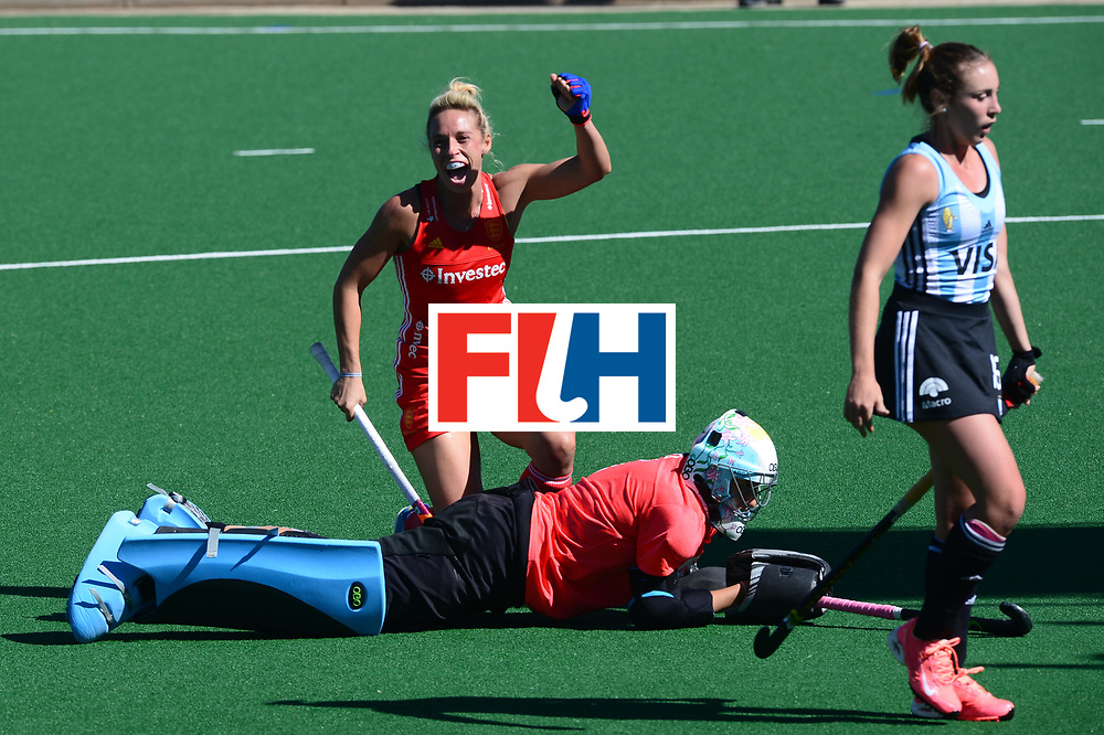 JOHANNESBURG, SOUTH AFRICA - JULY 23: Susannah Townsend of England celebrates her goal during day 9 of the FIH Hockey World League Women's Semi Finals 3rd-4th place match between England and Argentina at Wits University on July 23, 2017 in Johannesburg, South Africa. (Photo by Getty Images/Getty Images)